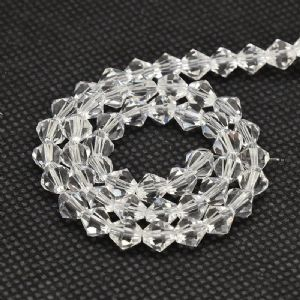 Clear Grade AA 4mm Faceted Glass Bicone